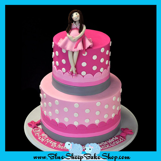 pink baby shower cake this tiered pink and grey baby showe