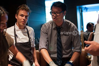 Sous-chef Garett with contestant Fred Lee