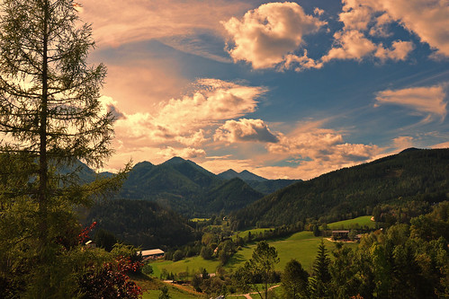 trees sky mountains clouds forest landscape geotagged austria österreich scenery himmel wolken berge landschaft wald bäume steiermark styria mariazell