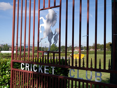 Detail from gate at Kent County Cricket Club