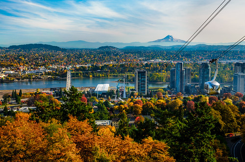 life road city autumn light people house mountain building tree fall colors horizontal skyline clouds oregon skyscraper river portland landscape outdoors photography town leaf unitedstates mthood urbanskyline megapolis overheadcablecar posnov viktorposnov