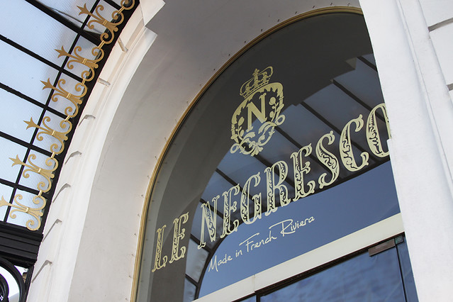 Glass over entrance to the Hotel Negresco in Nice, France