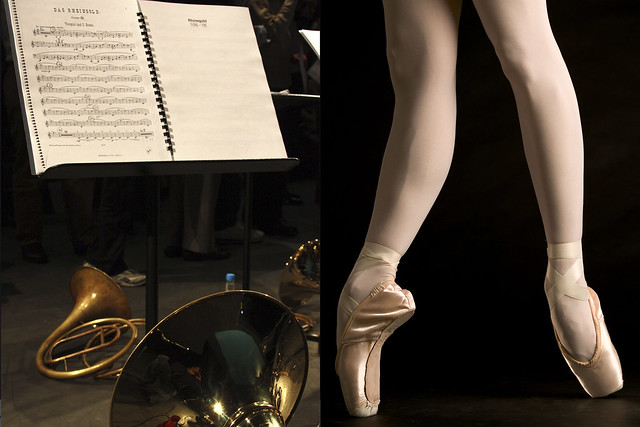 From left to right: horn masterclass on the opening of Das Rheingold, photograph by Tom Nelson; pointe shoes © ROH/Johan Persson, 2012
