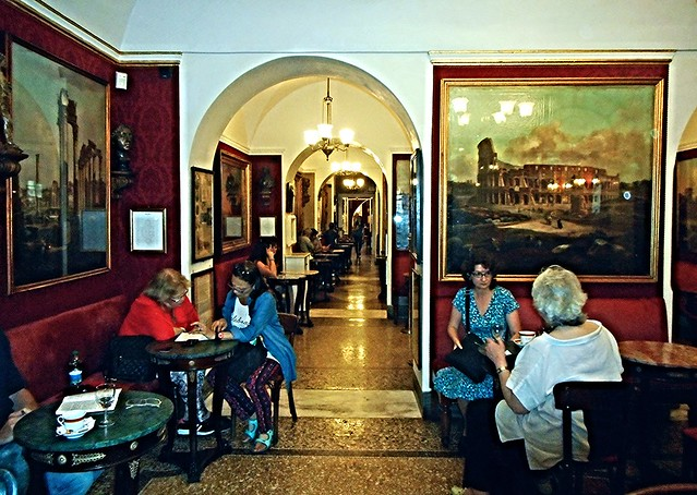Greco café, founded year 1760, frequented by Casanova, Stendhal, Fenimore Cooper, Schopenhauer, Gregorovius, Gogol, Turgenev, Melville, Makepeace Thackeray, Taine, Sienkiewicz, Carducci, D'Annunzio, Bjornson, France, Twain, Joyce, Moravia, Pasolini, Pasca
