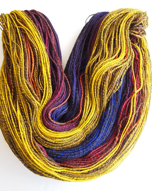 Black Shetland-Merino-Silk-hand carded-486yds-chain plied-worsted weight