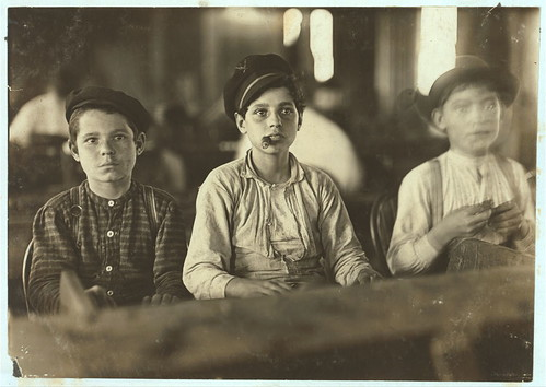 Young Cigarmakers in Englahardt & Co., Tampa, Fla. There boys looked under 14. Work was slack and youngsters were not being employed much... (LOC)