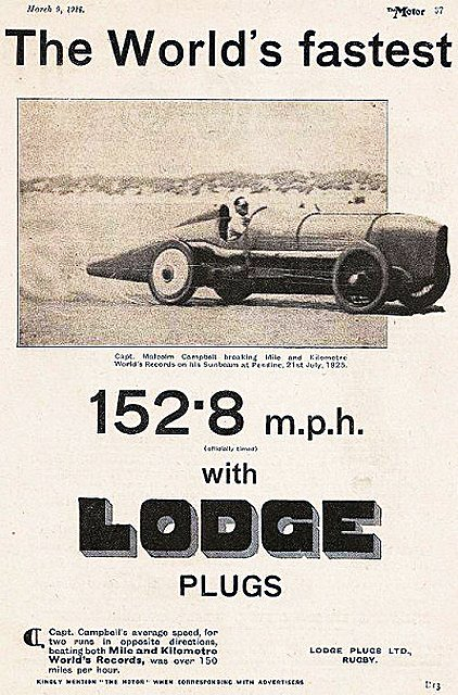 1925 Lodge plugs ad ft. Campbell Sunbeam Bluebird