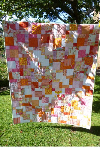 pink quilt on the line