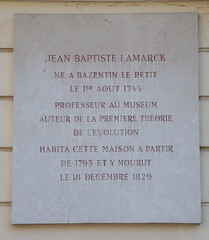 Photo of Jean Baptiste Lamarck white plaque
