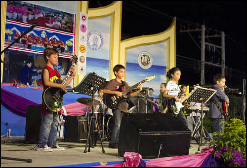 Kids guitar band live on stage