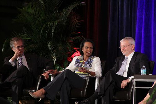Dr. Condoleezza Rice speaking with ONE Fellow Michael Gerson and ONE Board member Josh Bolton. Photo courtesy of @MJGerson via Twitter