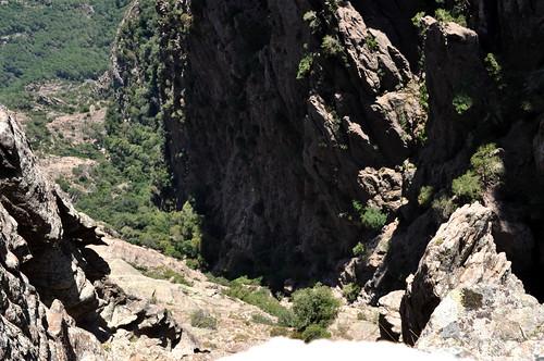 La partie visible du haut du ravin de Velacu depuis le Tafonu di u Cumpuleddu