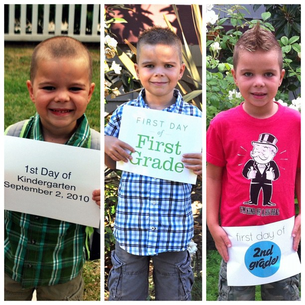 Kindergarten, First Grade, and Second Grade. Look at how grown up he is now. #firstdayofschool #backtoschool