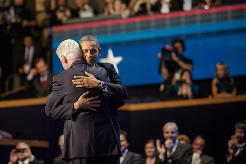 Bill Clinton gave a rousing speech on night two of the Democratic National Convention in Charlotte. At the end, to the surprise of the audience and media and, who knows maybe even Clinton himself, Obama came out and gave him a big hug.