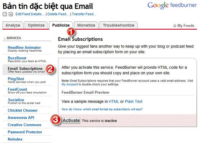 Hướng dẫn gửi bản tin đặc biệt qua email với Feedburner 223