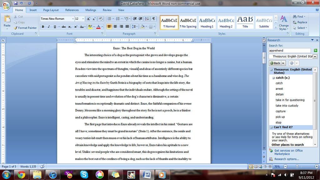 How should a double spaced essay look