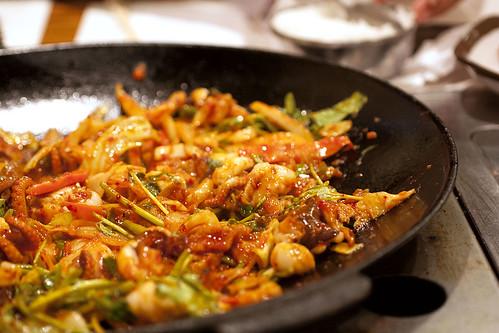 baby octopus & pork belly chulpan @ chung dam dong