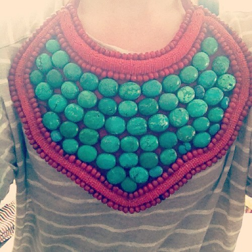 red & turquoise beaded breastplate necklace