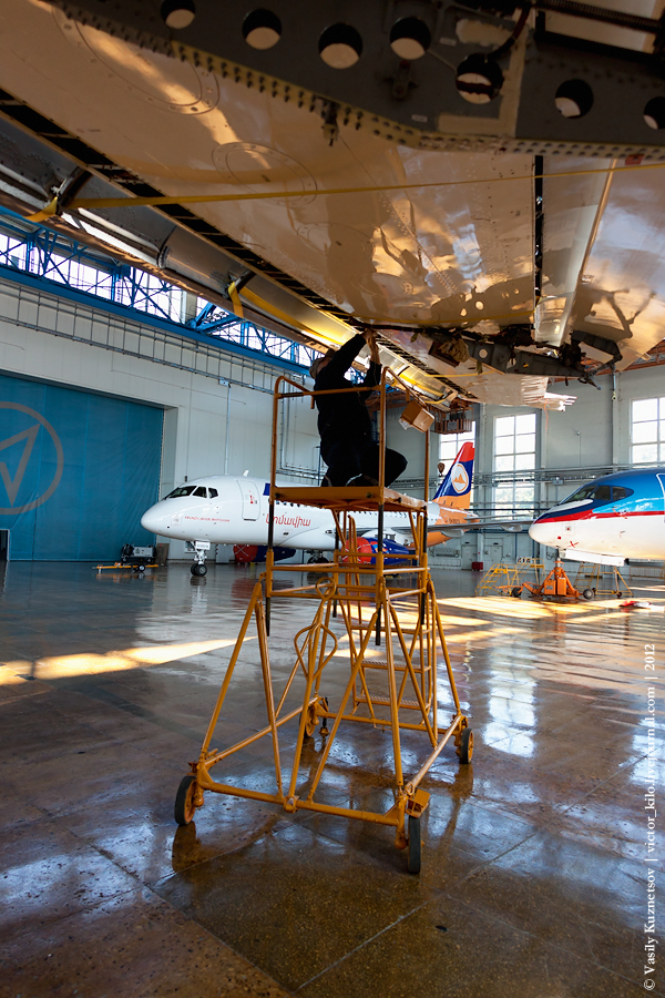 Inside SCAC hangar full of SuperJets