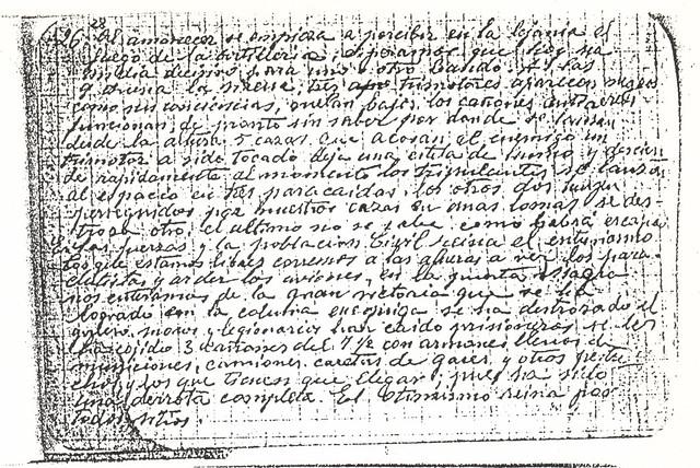 Diario del Guardia de Asalto republicano que controlaba el Asedio al Alcázar. 26 de septiembre de 1936