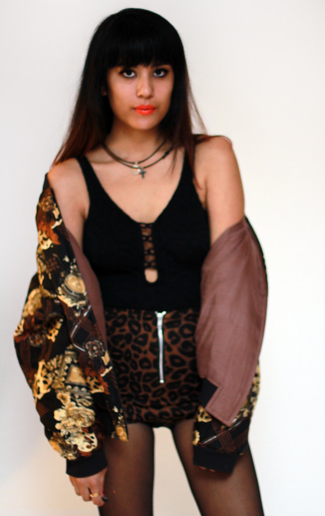 Tarte Vintage via shoptarte.com: Leopard and chains bomber jacket
