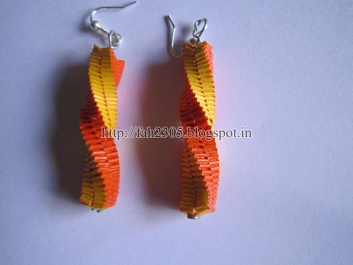 Handmade Jewelry - Paper Lanyard Earrings (Twisted Square) (3) by fah2305