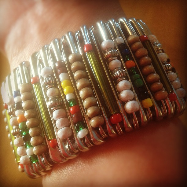 Yay! Hubby is #home today from #Mozambique and this what I've got #bracelets made of #safety #pins - #ipad #ipadgraphy #instagrammers #webstagram #igers #igers_pinoy #fashion #trends #september #2012 #women