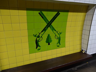 Finsbury Park tiled artwork - pistols