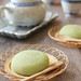Pandan mochi with coconut mung bean filling