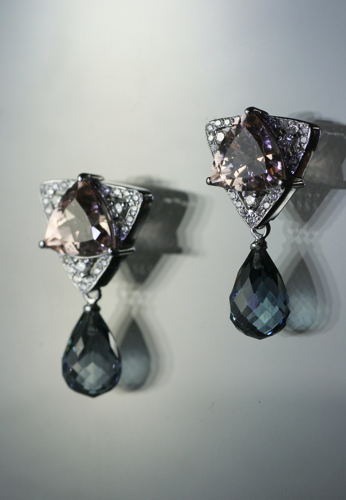 PSearrings or morganite topaz diamonds in white gold