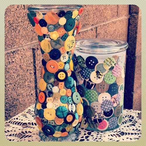 DIY Button Vase and Jar by Heather Says