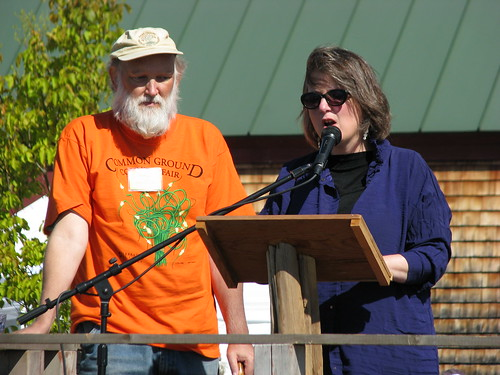 Deputy Secretary of Agriculture Kathleen Merrigan addresses a crowd during her keynote address. Standing next to Merrigan is Maine Organic Farmers and Gardeners Association Executive Director Russell Libby.