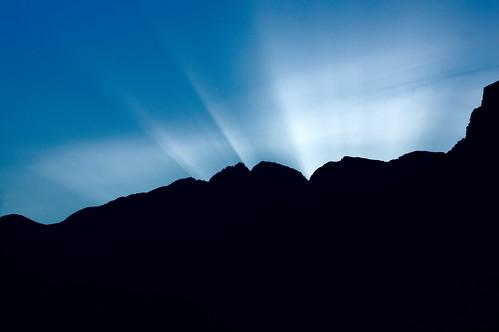 blue sunset sun mountain black set olympus mount rays