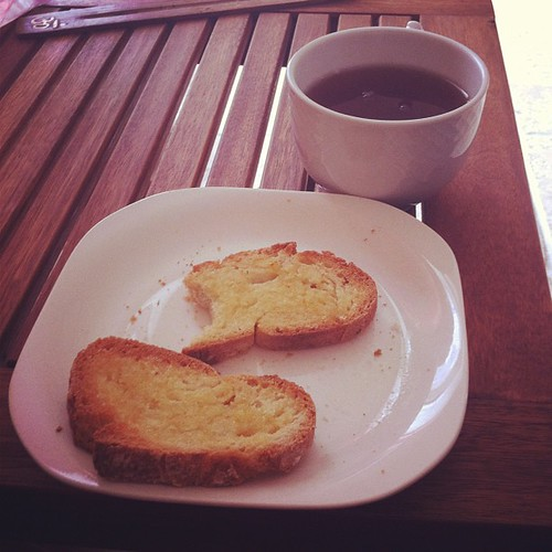 Post-yoga snack: buttered toast & sugary black tea. Not exactly sattvic but sometimes very necessary!