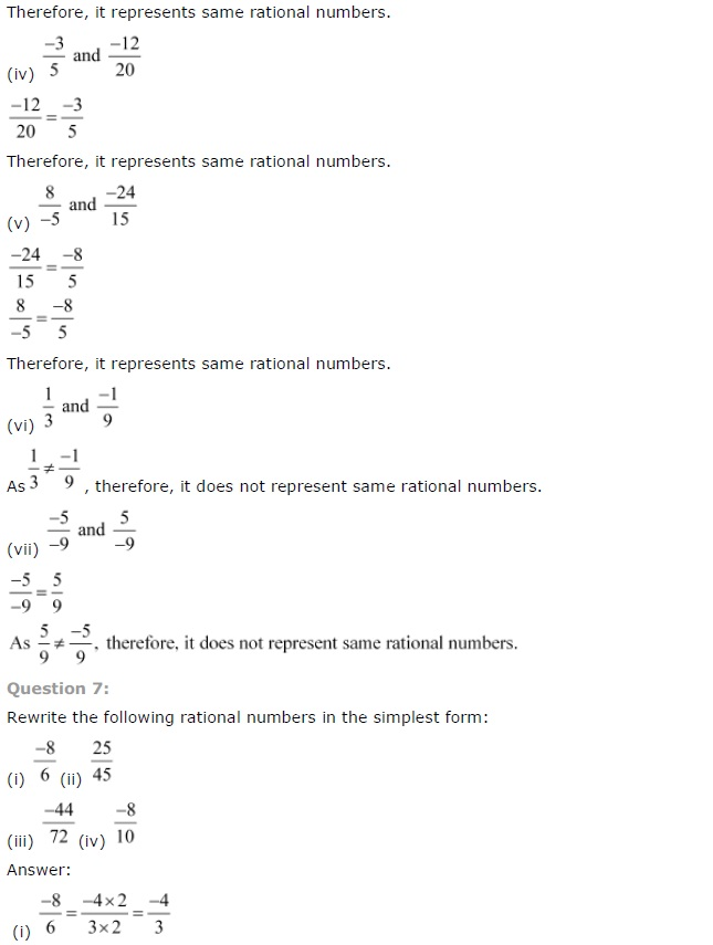 NCERT Solutions for Class 7th Chapter 9 Rational Numbers Exercise 9.1