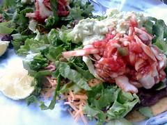 tostada, meal, lunch, salad, vegetable, leaf vegetable, food, dish, cuisine, caesar salad,