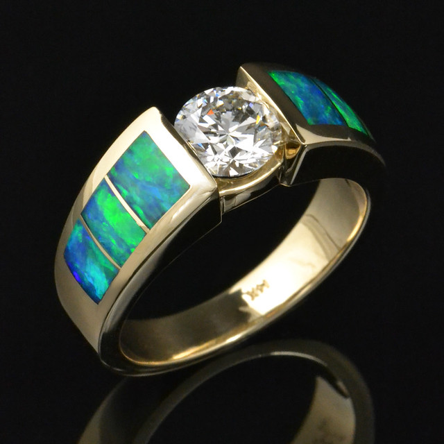 Australian Wedding Rings Australian Opal And Diamond Wedding Ring Flickr Photo