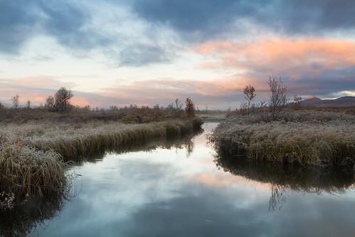 autumn fall water grass fog sunrise stream skies dovre marsh mountian høst dovrefjell myr fokstumyra vålåsjø