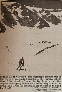 A photo of a skiing streaker in 1933 printed in a 1974 Student Life newspaper