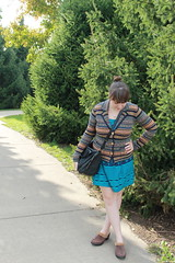 Swayze outfit: teal and navy dress, fair isle blazer from Anthropologie, leather clogs with faux fur trim, studded bottom bag