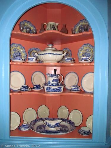 China cabinet in Hosmer's Inn, Genesee Country Village & Museum, Mumford, New York