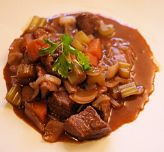 vegetable(0.0), produce(0.0), pot roast(0.0), stew(1.0), beef(1.0), beef bourguignon(1.0), meat(1.0), food(1.0), dish(1.0), cuisine(1.0),