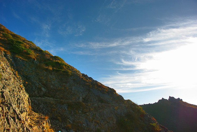 権現岳へのトラバース部