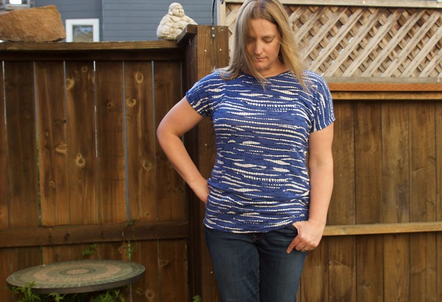 blue dolman tee front
