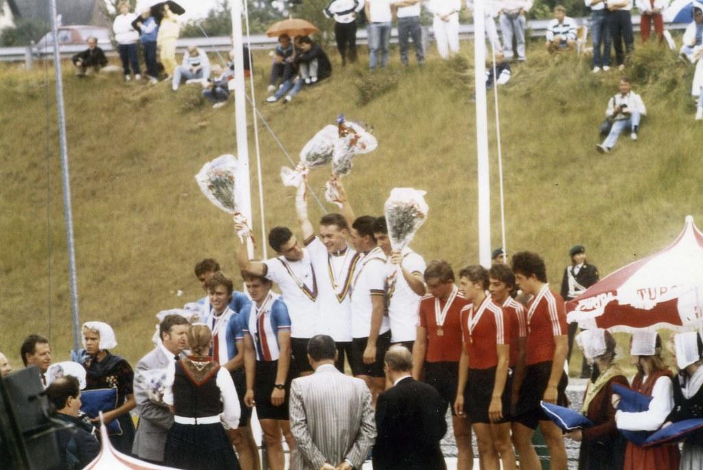 Podio Campionato Mondiale Crono a squadre Alievi (75 km) - Odense (Danimarca) - Andrea Peron - Gianfranco Contri - Gianluca Tarocco - Alessandro Bacciottini