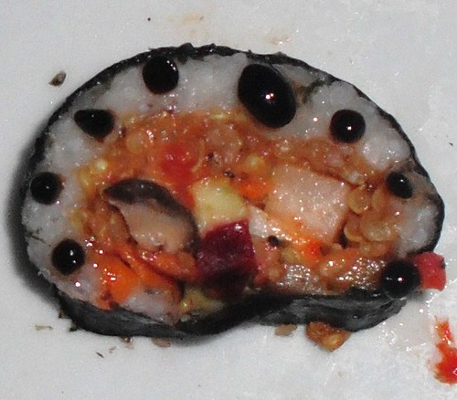 Sushi with balsamic pearls