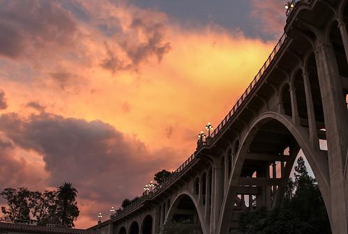california street bridge sunset losangeles route66 colorado socal pasadena seco arroyo historicallandmark ilovela karolfranks ©2014 karolfranksgmailcom