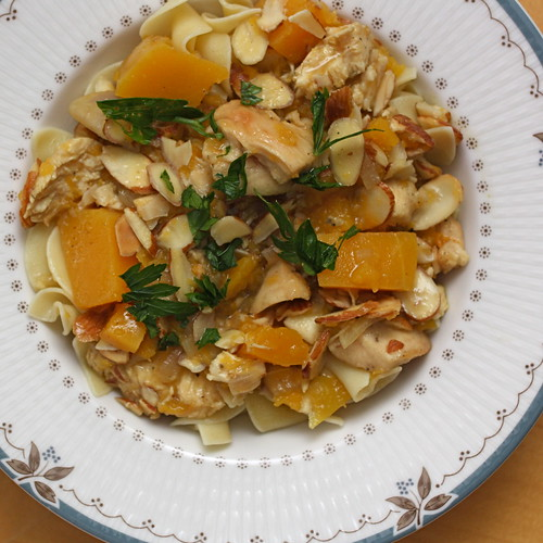 Chicken Stew with Cider, Butternut Squash, and Shallots