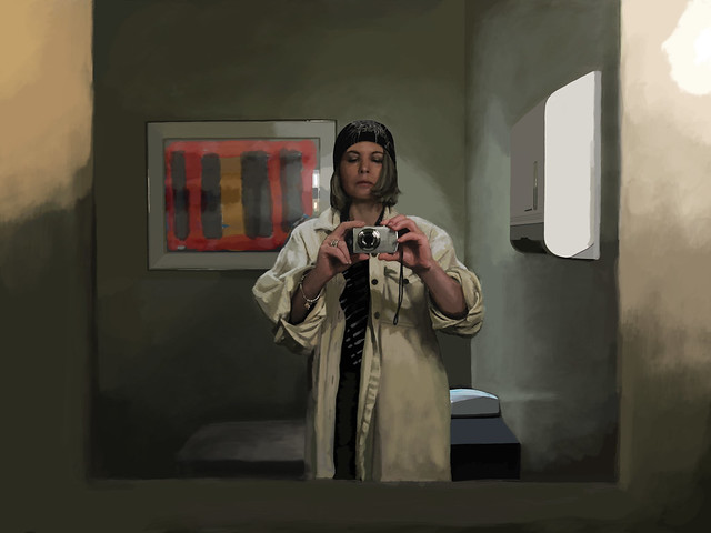Digital Painting of Janet Photographing Herself
