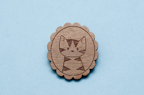 Walnut Cat Brooch